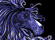 Horses Drawings - Horse Head Blues by Nick Gustafson