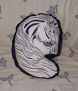 Pillow Tapestries - Textiles - Horse Head Pillow by Paula Jenkins
