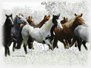 Running Digital Art - Horse Herd #3 by Kae Cheatham