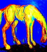 Wielding Prints - Horse in blue Print by Hilde Widerberg