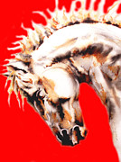 Handmade Paper Prints Drawings Posters - Horse In Red Poster by Juan Jose Espinoza