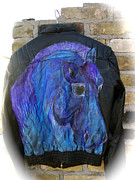 Pictures Tapestries - Textiles Originals - Horse Leather Jacket by Heather Grieb