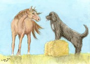 Newfoundland Art Paintings - Horse Newfoundland Dog Play Farm Ranch Cathy Peek Art by Cathy Peek