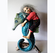 Seahorse Sculpture Metal Prints - Horse of a Different Color Metal Print by Linda Apple