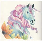 Forelock Drawings Prints - Horse of a Different Colour Print by Kirsten Slaney