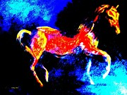Impressionistic Horse Paintings - Horse Of Fire Painting by Annie Zeno