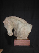 Sculpture Ceramics Metal Prints - Horse Metal Print by Olympia Letsiou