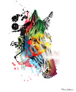 Horse Unique Art. Posters - Horse On Abstract  2 Poster by Mark Ashkenazi