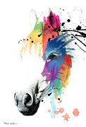 Geek Prints - Horse On Abstract   Print by Mark Ashkenazi
