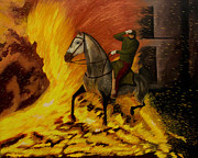 Knighthood Posters - Horse On The Fire Poster by Manuel Lopez