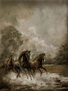 Horses In Print Framed Prints - Horse Painting Escaping the Storm Framed Print by Gina Femrite