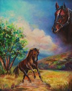 Hores Framed Prints - Horse painting running free Framed Print by Laurine Baumgart