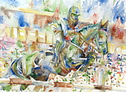 Horse Jumping Paintings - Horse Painting.21 by Fabrizio Cassetta
