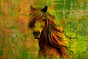 Yellow Brown Posters - Horse paintings 001 Poster by Catf
