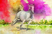 Water Sports Art Print Paintings - Horse paintings 007 by Catf
