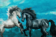 Water Sports Print Posters - Horse paintings 011 Poster by Catf