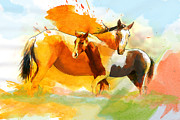 Beautiful Scenery Painting Posters - Horse Paintings 013 Poster by Catf