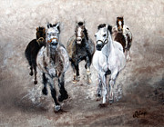 Horse Paintings Horse Art Equine Art Storm's Comin' Print by Robert Lafaye