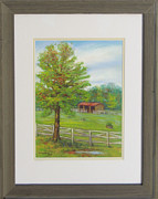 Spring Scenes Pastels - Horse Pasture at Woodlawn Manor in Sandy Spring MD by Nancy Heindl