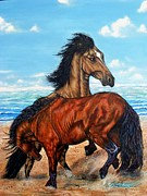 Running Back Painting Framed Prints - Horse Play Framed Print by Amanda  Stewart