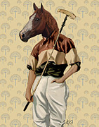 Horse Greeting Cards Prints - Horse Polo Player Portrait Print by Kelly McLaughlan