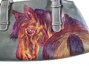 Portraits Tapestries - Textiles Originals - Horse Purse  Lucky Amber by Heather Grieb