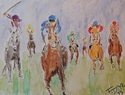 Kentucky Derby Mixed Media Prints - Horse Race Print by Frank Middleton