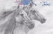 Horse Drawing Mixed Media Prints - Horse Race Print by Joelle Bhullar
