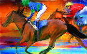 Horse Racing Art Prints - Horse Racing II Print by Lourry Legarde