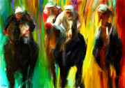Horse Racing Art Prints - Horse Racing III Print by Lourry Legarde