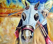Horse Racing Paintings - Horse racing by Katerina A Cechova