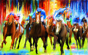 Racers Prints - Horse Racing Print by Lourry Legarde