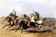 Karl Prints - Horse Racing of the Sioux Print by Karl Bodmer