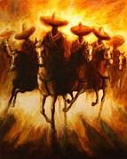 Mexican Horse Paintings - Horse Riders VI by David Silvah