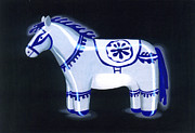 Animal Ceramics Metal Prints - Horse Sculpture Metal Print by Renu K