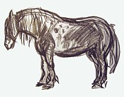 Egon Schiele Drawings - Horse Sketch by Gita Lloyd