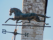 Weathervane Photos - Horse Weathervane and Chimney by Kathy Barney