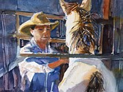 Light Horse Painting Originals - Horse Whisperer  by Shirley Roma Charlton