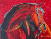Red Horse Paintings - Horse with Bling by Jodie  Scheller