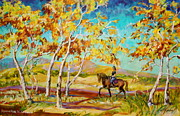 But Painting Originals - Horseback Riding in Fall  by Jan Mecklenburg