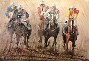 Knights Paintings - Horserace by V Zaur