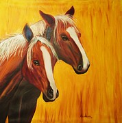 Farm Animals Drawings Posters - Horses Poster by Anastasis  Anastasi