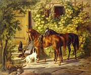 Hare Posters - Horses at the Porch Poster by Pg Reproductions