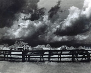 Storm Prints Prints - Horses Black and White Infrared Stormy Sky Nature Landscape Print by Kathy Fornal
