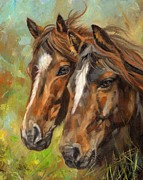 Wolves Painting Prints - Horses Print by David Stribbling