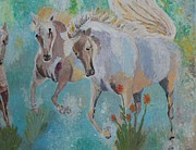 Palette Knife Reliefs Framed Prints - Horses from Camargue 2 Framed Print by Vicky Tarcau