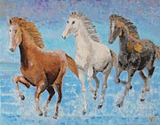 Wild Animals Reliefs Metal Prints - Horses from Troy Metal Print by Vicky Tarcau