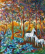 Weisse Pferde Im Wald Schatten Prints - HORSES in the SHADE Print by Gunter E  Hortz