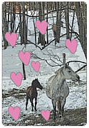 Patricia Keller Framed Prints - Horses in the Snowy Hearts Framed Print by Patricia Keller