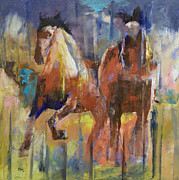 Abstract Wildlife Paintings - Horses by Michael Creese